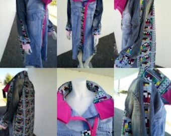 model unique jeans jackets and beaded fabrics
