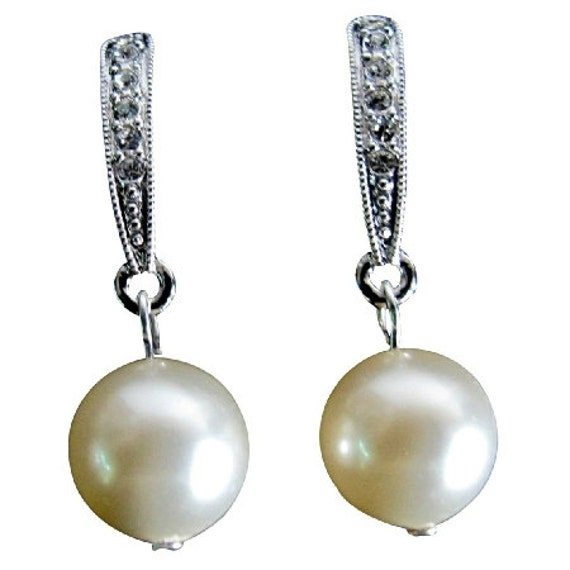 Ivory Pearl Wedding Earrings Bridal Earrings Swarovski Pearls Cubic Zirconia Dangle Classic Earrings Bridesmaid Gifts  Free Shipping In USA