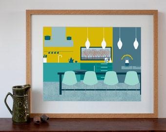 Modern mid-century Dining Room Interior - Digital Art Print