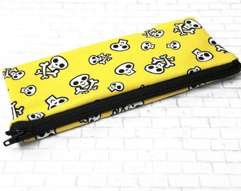 Yellow Skull and Crossbones Pouch - Small Cosmetic Zipper Bag - Crochet Hook Purse - Small Reusable Crayon Bag - Brush Bag - Pencil Case