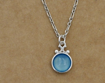 dainty sterling silver gemstone necklace, BLUE AGATE NECKLACE