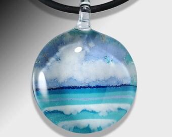 Blown Glass Jewelry-Sm.-Seascape Pendant