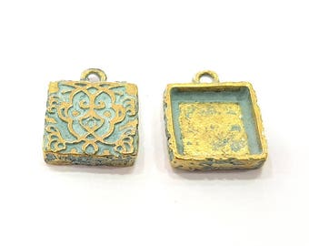 6 Patina Blue Charms Antique Blue Pendant Blank , Faux Patina over Antique Bronze Tone  (14mm) G8888