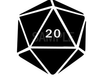 DND D20 vinyl decal - Dice decal
