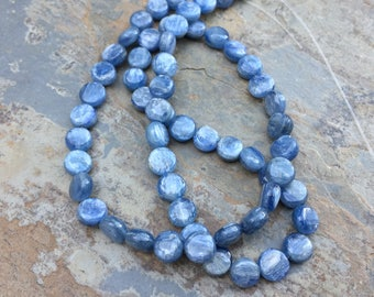 Kyanite Disk Beads, Natural Kyanite Beads, Grade AAA, 7mm, 16 inch strand