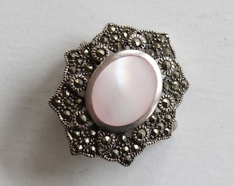Vintage Sterling & Marcasite Pin with Mother of Pearl Cabochon