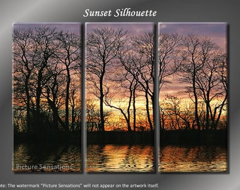 Framed Huge 3 Panel Modern Art Sunset Silhouette Giclee Canvas Print - Ready to Hang