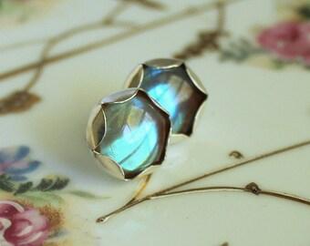 Saphiret Saphirine Post Earrings - Large Sterling Silver Stud