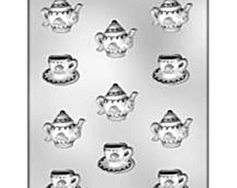 Teapot Cup Saucer Mold Candy Chocolate Soap Ice Crayon Candle Fondant Baking Supplies Jenuine Crafts
