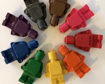 5 SETS of 8 building block mini figure crayons - add letters, numbers, and custom labels!