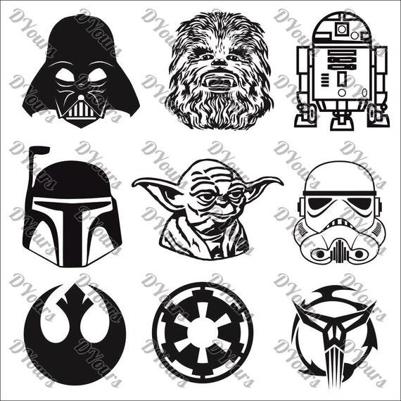 Star Wars personajes 9 modelos Vector colección de