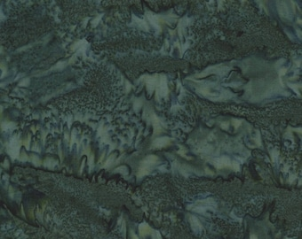 Hoffman Fabrics, 1895 Bali Watercolors, Dublin, Batik Fabric in Dark Green with Blue Accents, 100% cotton