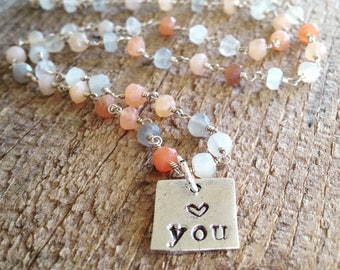 Love you hand stamped necklace,beaded necklace, love gift, love jewelry, I love you necklace, anniversary gift, valentine's gift, heart gift