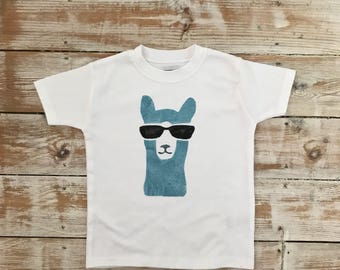 Llama T-shirt - Funky Toddler Clothes - Fun TShirt - Customised Colours - Blue Llama Top - Alpaca T-shirt - No Drama Llama Tee Shirt