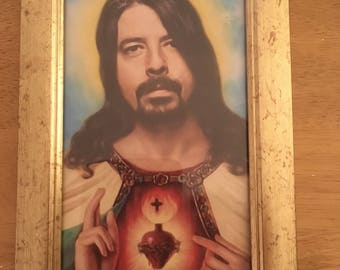 """Dave Grohl colour print religious in a gold frame 6x4"""""""