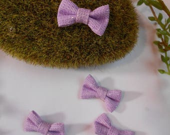 Set of 4 small bows with glitter - Purple - 2.7 cm / 1.6 cm