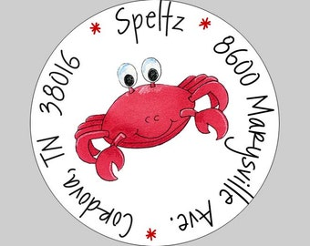40 Personalized Under the Sea Crab Address Labels
