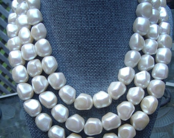 Vintage Richelieu Three Strand Faux Pearl Necklace