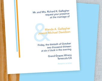 Sky Blue and Orange Mod Ampersand Printable Wedding Invitation & RSVP