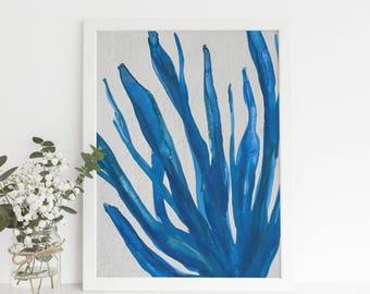 Blue Seaweed Print, Digital Download, Bathroom Art, Ocean Decor, Beach House Print, Coastal Wall Art, Downloadable Coastal Art, Nautical Art