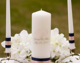Navy and Blush Personalized Unity Candle Set, Wedding Gift, Navy and Pink Candle, Blush and Navy Wedding Ceremony, Monogram Candle Set