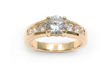 OZ half Solitaire wedding band gold plated ring