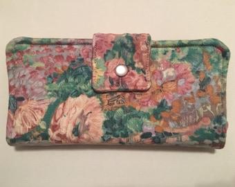 Handmade Monet Style Nine Pocket Soft Cotton Bi-Fold Women's Wallet