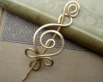 Celtic Budding Spiral Brass Shawl Pin, Scarf Pin, St. Patrick's Day Fastener, Metal Hair Pin, Women, Sweater Closure Hair Barrette, Knitting