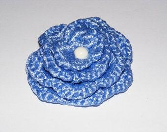 China blue crocheted rose brooch