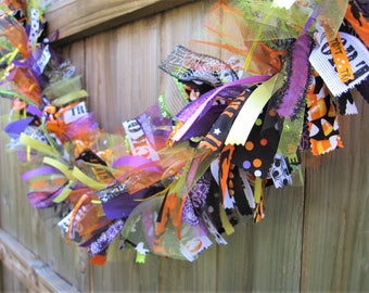 Halloween Garland, Halloween Banner, Halloween Decor, Halloween Bunting, Fabric Garland, Ribbon Garland, Fall Garland, Halloween Mantel Swag
