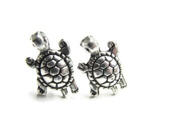 Silver Turtle Stud Earrings,  Small Turtle Jewelry, Cute Turtle Earrings