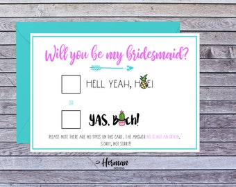 Printable Funny Will you be my bridesmaid proposal