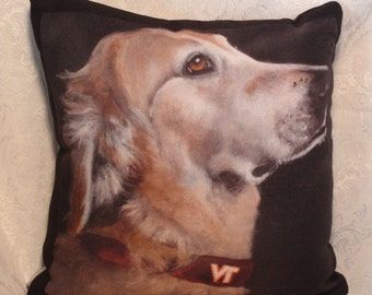 Custom Throw Pillow of Your Pet with option to buy the original art on the lunch bag