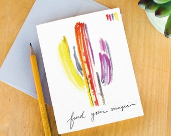 Cactus Greeting Card. Inspirational Cards. Artist Cards.Find your magic.Watercolor Stationery. Cacti watercolor. saguaro art.cacti art