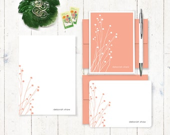 Personalized Stationery Set - notepad and note card stationary set - flower stationery - botanical - choose color - DAINTY FLOWERS