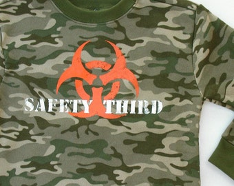 Kids SAFETY THIRD Biohazard Sweatshirt  - Boys Camo sweatshirt -- 5T one off Boys sweatshirt safety 3rd kids clothing