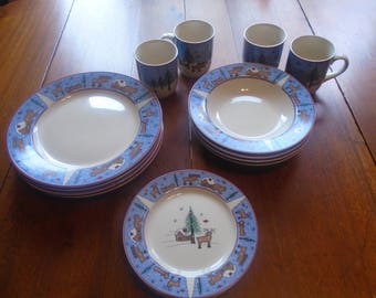 Christmas dinnerware blue ... & Snowflake dinnerware | Etsy