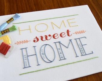 Home Sweet Home hand embroidery pattern, modern embroidery, housewarming, embroidery patterns, embroidery PDF, PDF pattern