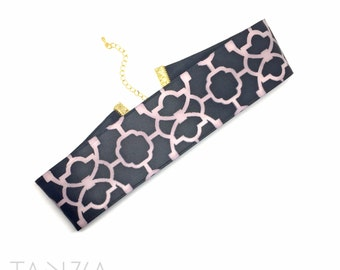 30%OFF - Black and Pink Wide Choker