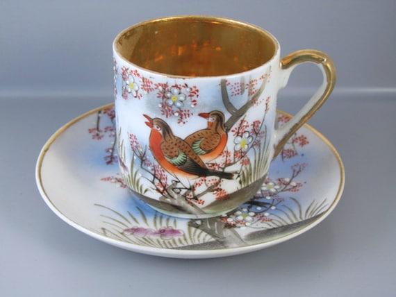Vintage hand painted birds Samurai Japan demitasse cup and saucer / porcelain / china / bone china / tea / coffee