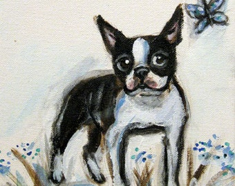 Boston Terrier smile butterfly flowers original dog painting