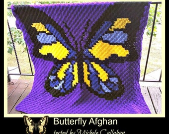 C2C Graph, Butterfly 3 Color Afghan C2C Graph with Written Word Chart