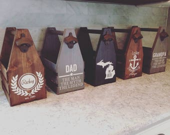 Rustic Beer Carrier, Beer Holder, Beer Tote, Beer Caddy