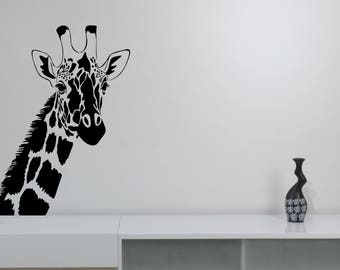 Giraffe Wall Decal African Animal Removable Vinyl Sticker Nature Safari Art Wildlife Decorations for Home Kids Room Bedroom Decor grf1