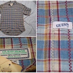 Vintage Retro Men's 90's Guess Georges Marciano Shirt NOS New with Tags Madras Yellow Blue Plaid Short Sleeve Buttonup Medium XL Made in USA nOc7fk