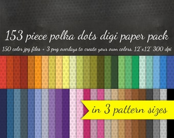 80% OFF SALE Polka Dots Digital Scrapbook Paper Pack - 3 Pattern Sizes 50 Colors Each & 3 Polka Dot Overlays - Digital Scrapbooking Paper
