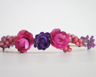 Pink and purple flower and berries crown/headband