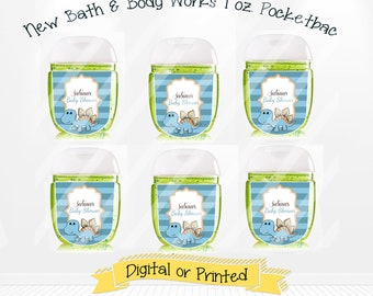 PRINTED Cute Dinasour Baby Shower Bath and Body Works PocketBac Hand Sanitizer Labels, Dinasour Baby Shower Party Favors, Custom Labels