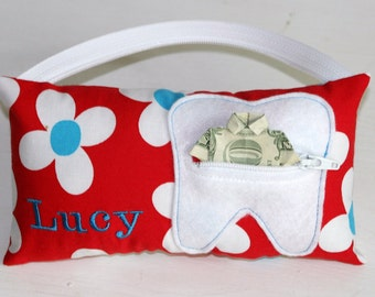 Girl's Daisy Personalized Tooth Fairy Pillows