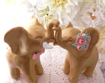 Wedding Cake Topper, Gold Elephants, Peach Roses and Bow Tie, Bride and Groom Keepsake